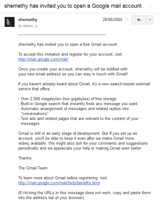 Gmail 2005 invite